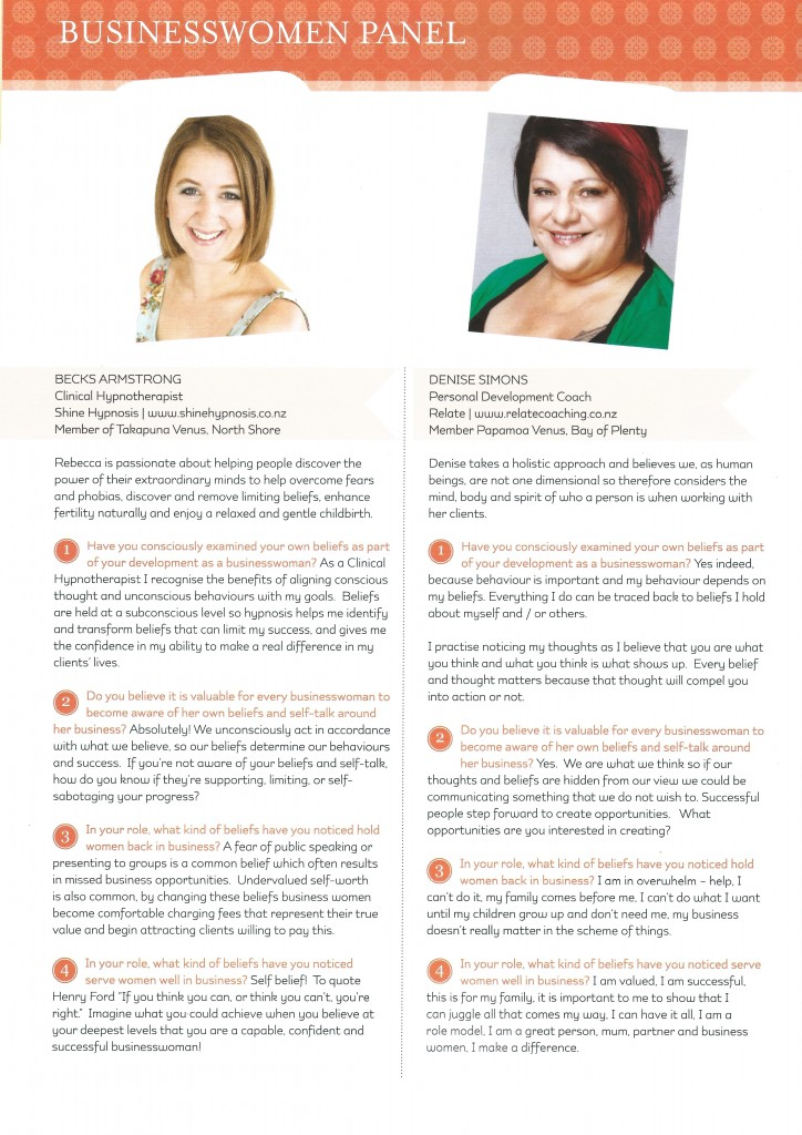 Business Women Panel - Venus Mag March 2014